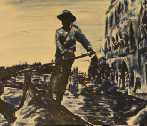 gondolier painting done in Italy