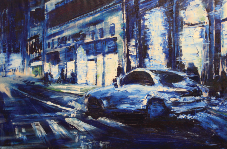 A cool, smooth vision of movement depicting a night scene of Florence along one of its busiest streets.