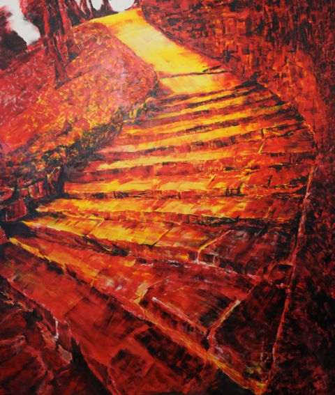 A monster painting depicts a red, firey and aggressive set of ancient stone steps.
