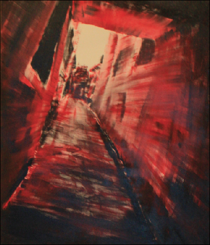 A sinister looking red and black image of an architectural tunnel.