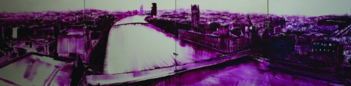 A violet expression of a view from the top of the London Eye, looking westward across the Thames River.