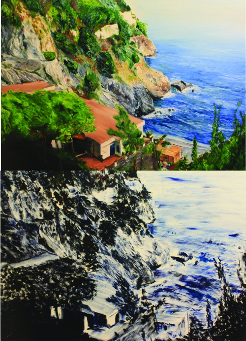 Dual images of The Amalfi Coast, bringing up questions of perception within the viewer to compare between local and tourist sensibilities.