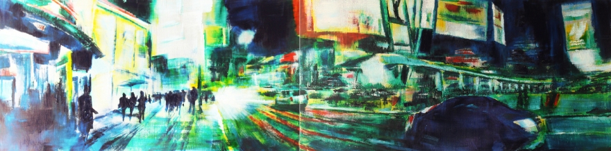 oil on wood panel (diptych) 2ft x 8ft 2013