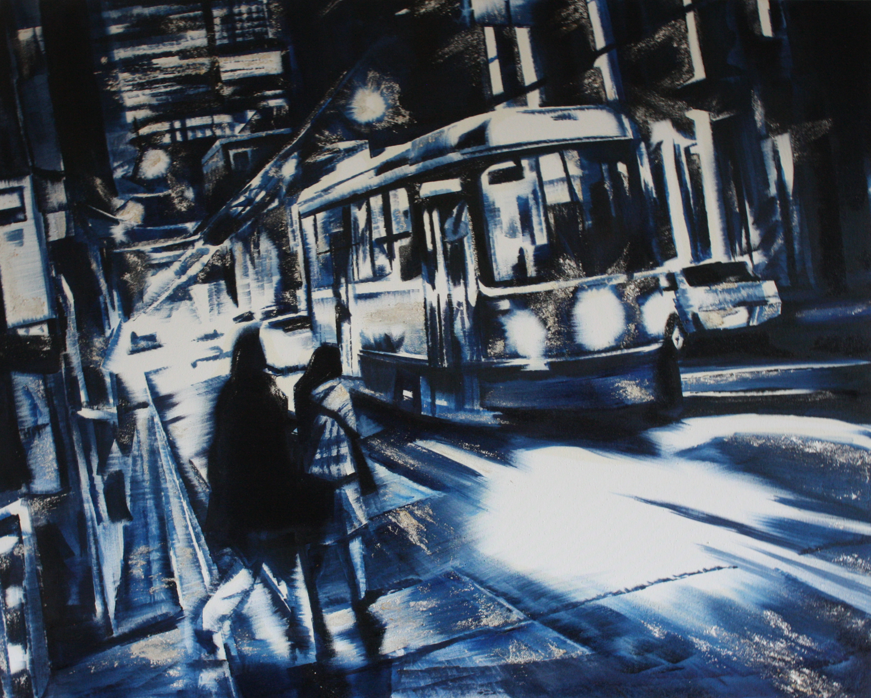 "Boarding oil, silver on canvas 48""x60"" 2015"