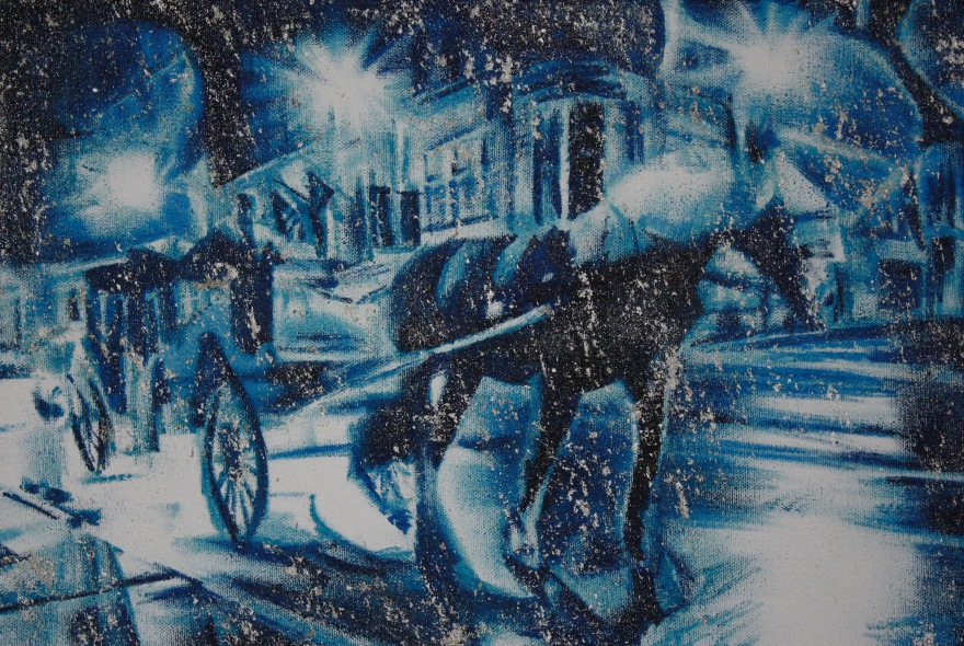 Carriage Ride in St Louis oil, silver on canvas 2015