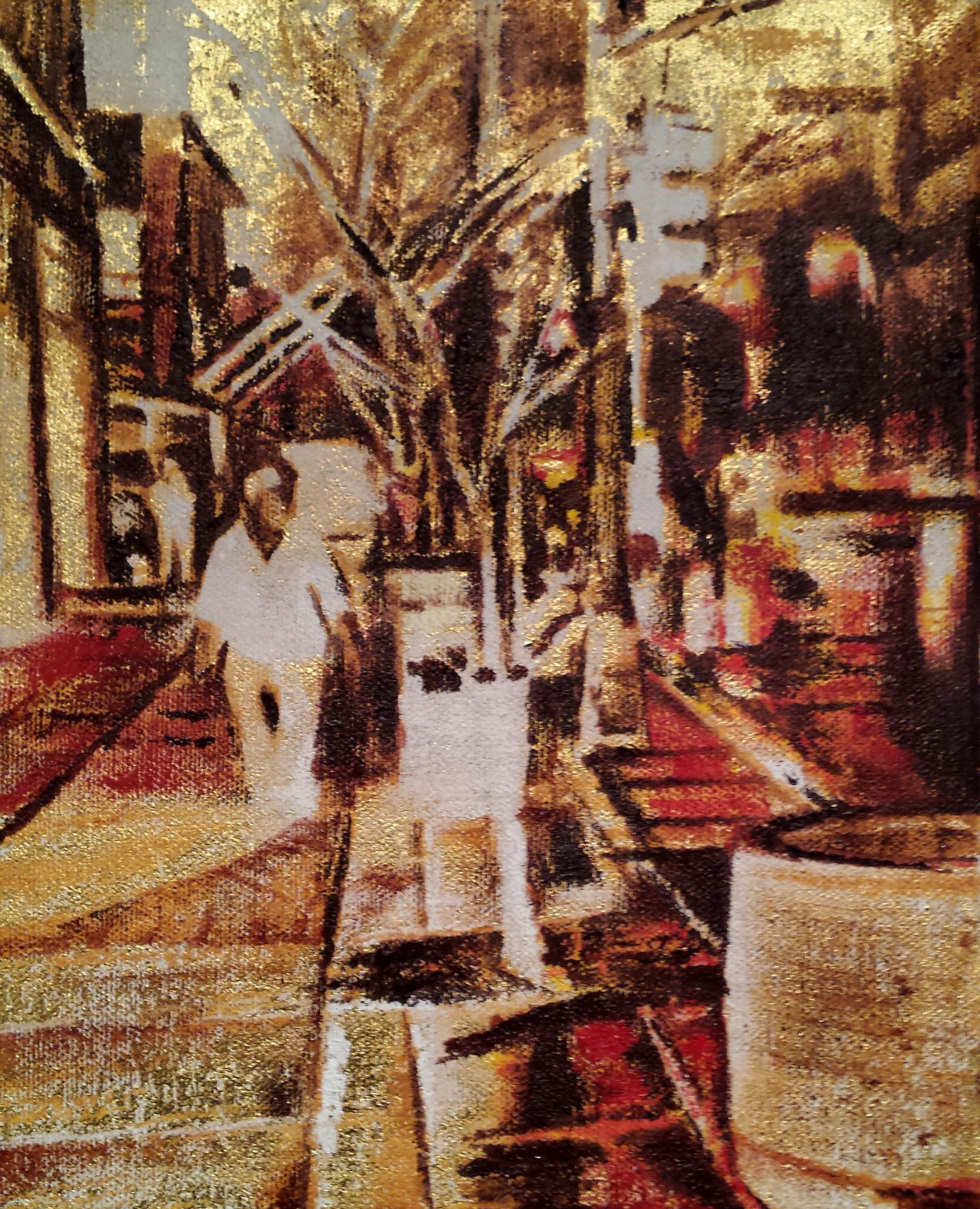 """Alchemy"" Adam Chapman oil, 23k Gold on canvas 10""x8"" 2016"